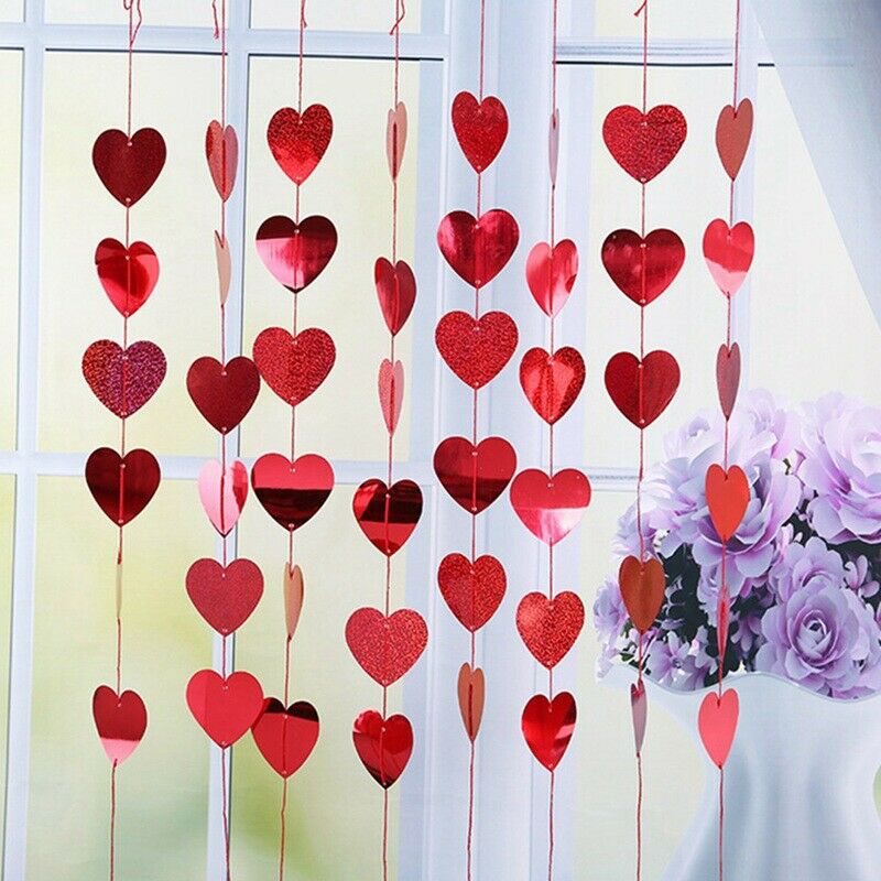Valentines Day Hanging Red Love Heart Party Engagement Strings Decoration