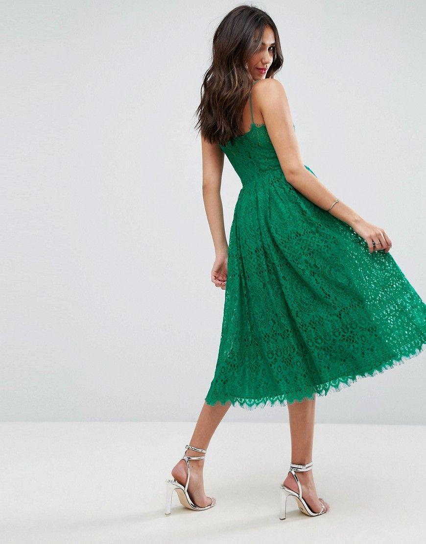 Asos lace cami midi prom dress green green lace