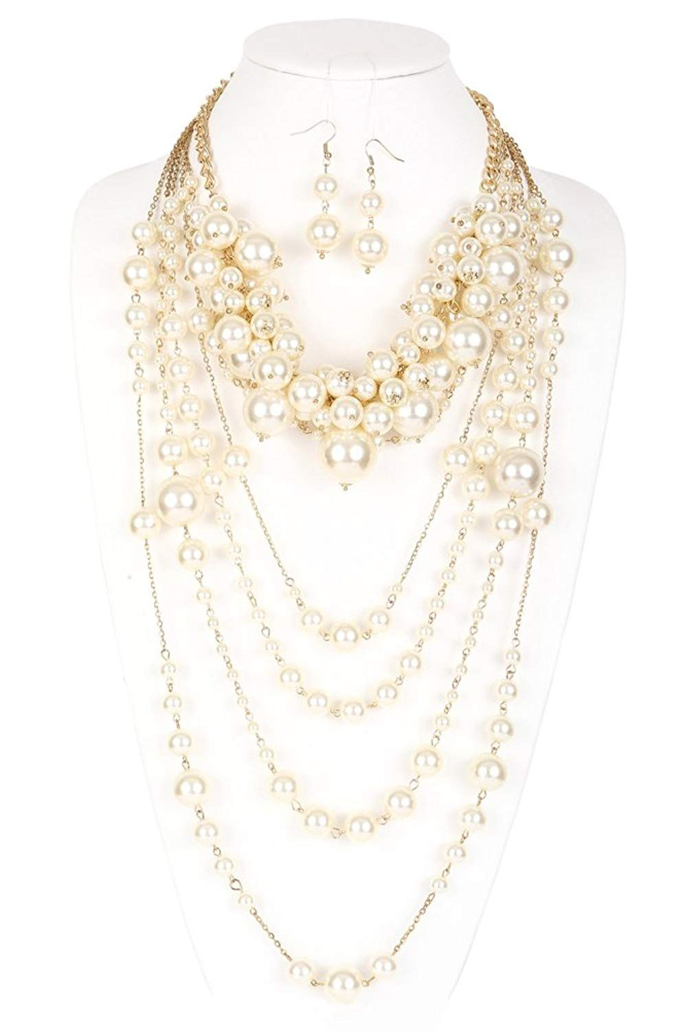 Amelia Multi Functional Simulated Pearl Statement Necklace And Earrings Set Nice Of Your Presence To Have Dropped By To View Our Statement Necklace