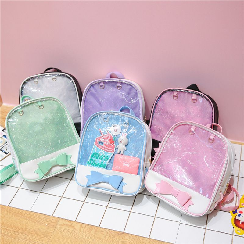Women Jelly Transparent Backpack Candy Color Cute Bow Ita Bag Korean School  Bags for Teenage Girls PU Leather Backpacks Mochila 461b7019fe618