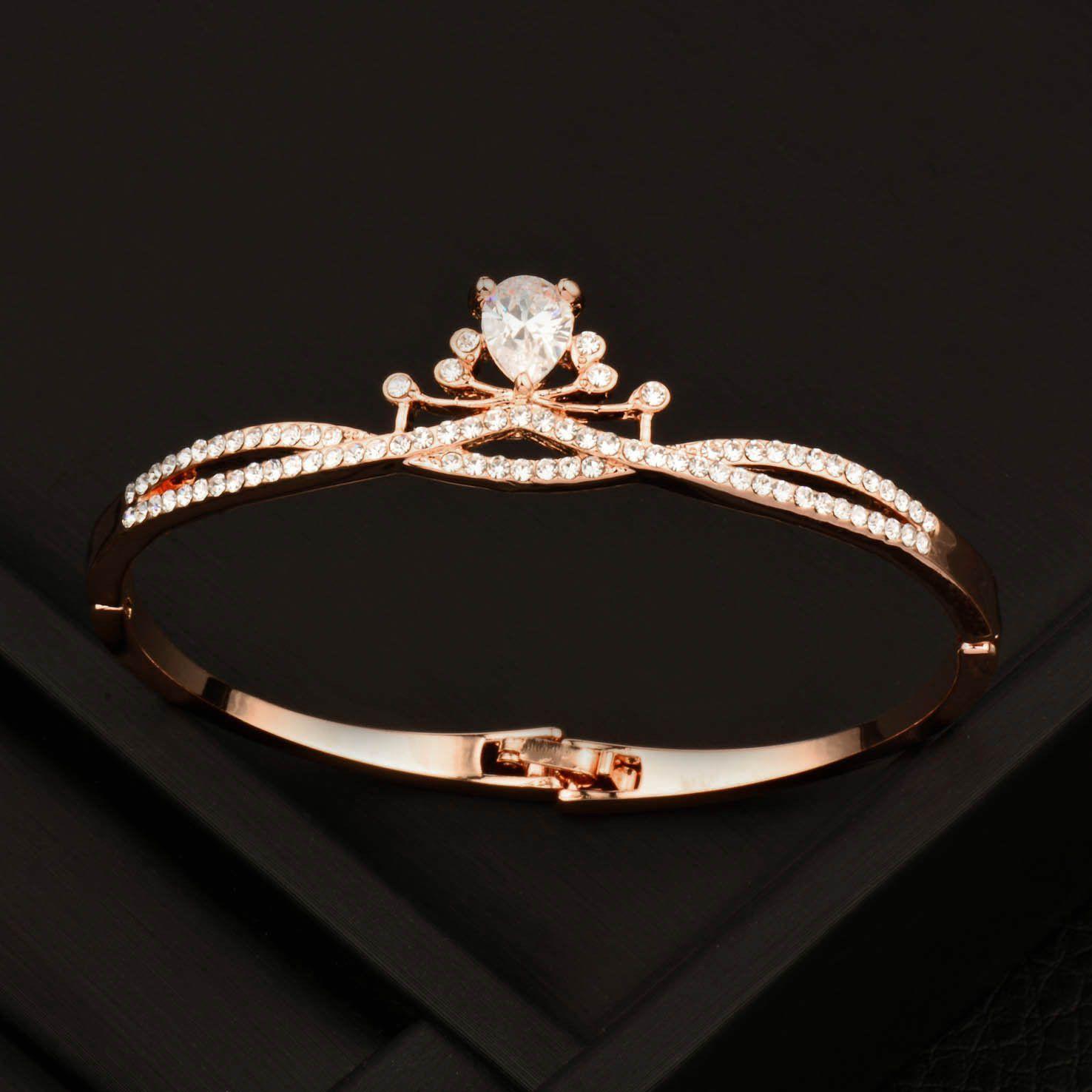 Details about Charm Blue Crystal Leaf Bracelets Bangle for