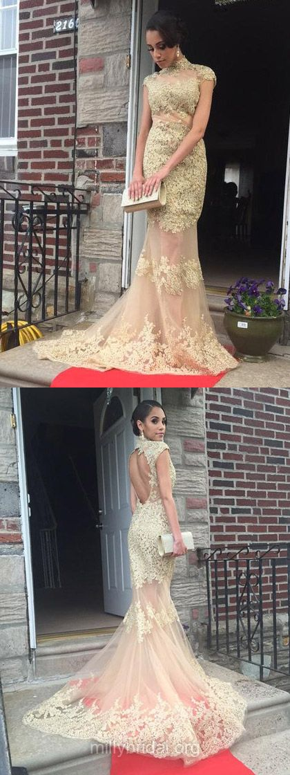 Mermaid Prom Dresses Long, High Neck Formal Dresses Lace, Tulle Evening Party Dresses Open Back New Style