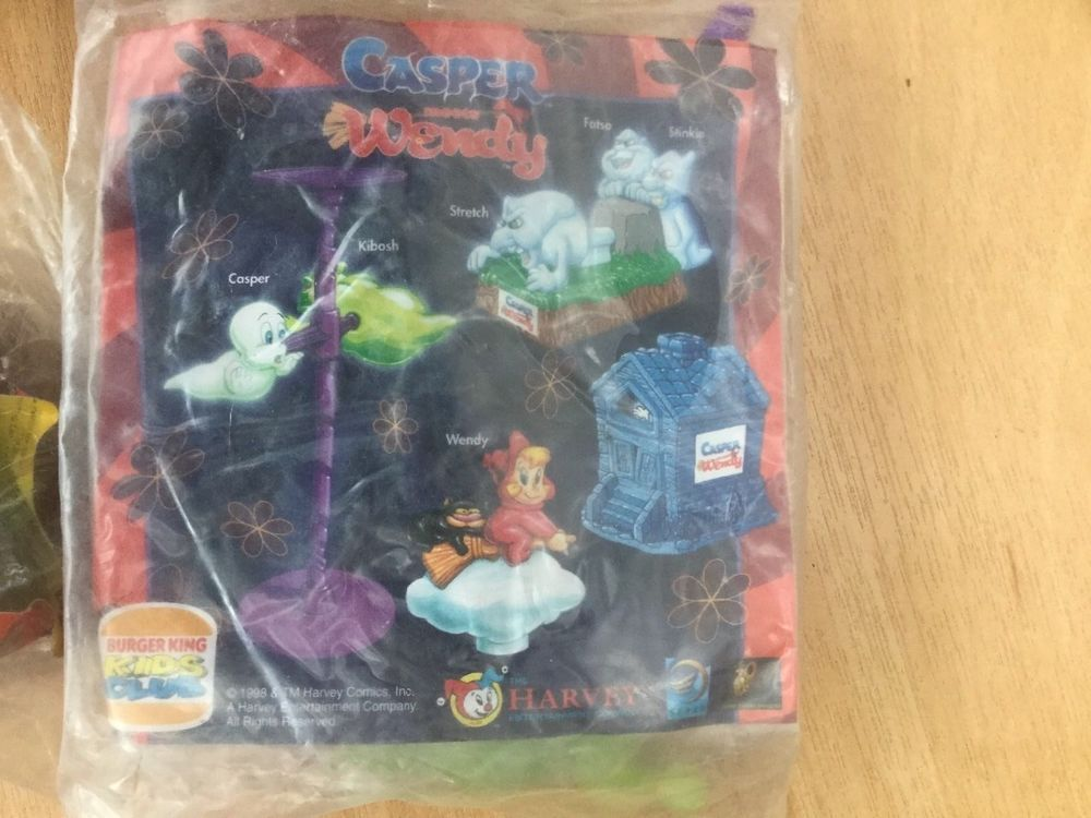 casper and wendy costume. complete set of toys - burger king kids club.. casper meets wendy bnip and costume