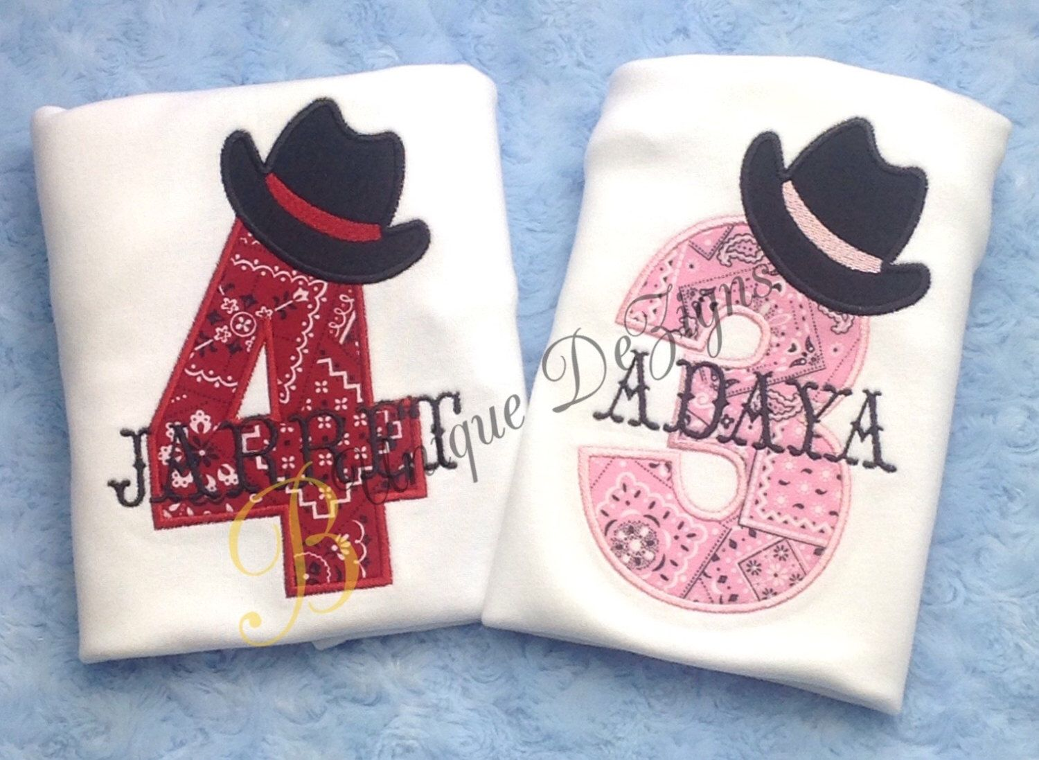 Applique siblings cowboy cowgirl shirt twin birthday shirt girl