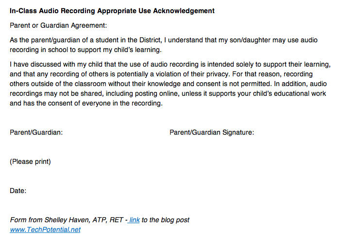 Sample Consent Form For Recording In The Classroom  Disability