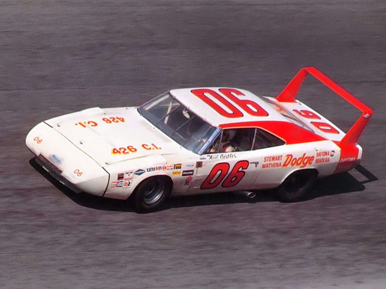 1969 Dodge Charger Daytona Nascar Race Car At Speed Driven By Neil
