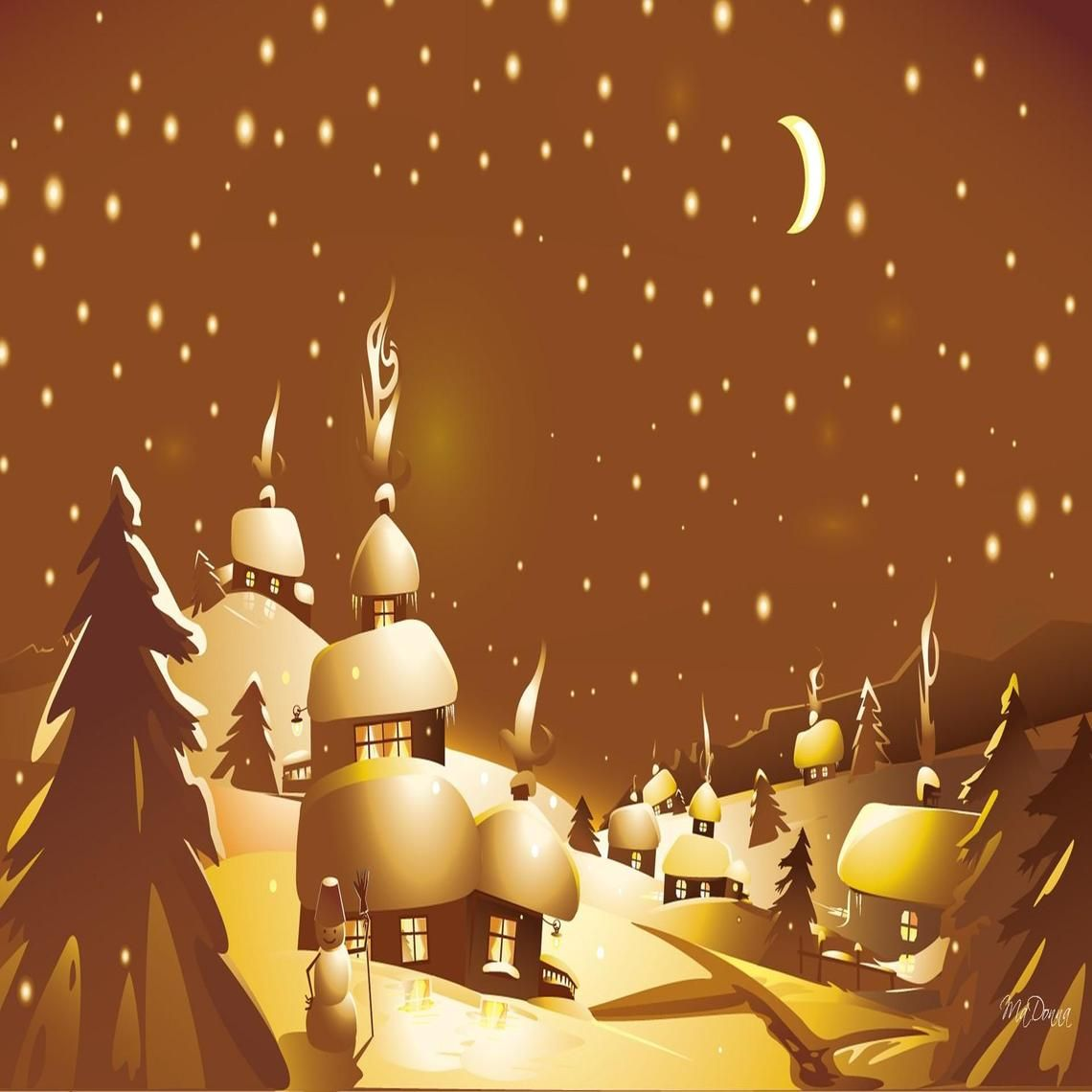 Golden Winter Night