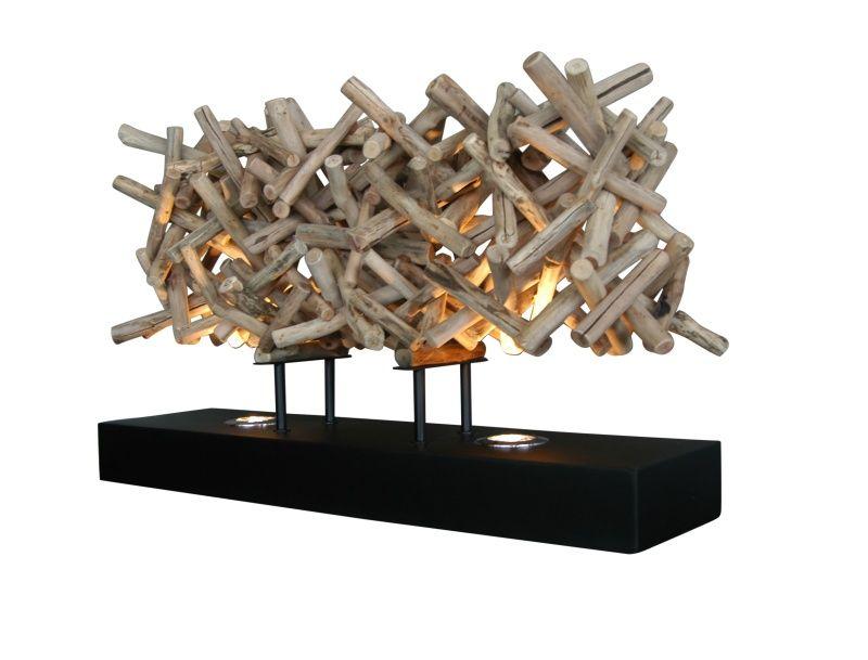 Tischlampe aus Treibholz Stöckchen www.mangostil.de Holz