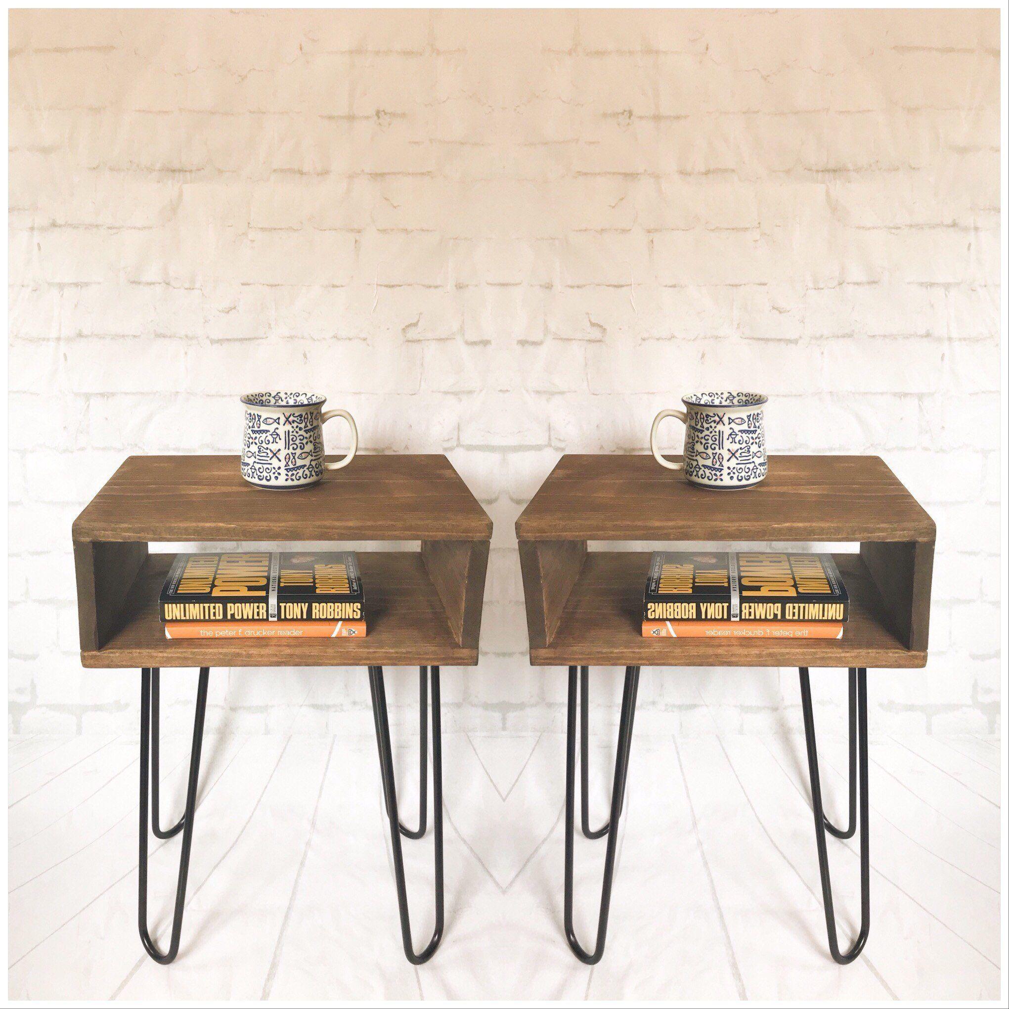 Best Handmade Mid Century Nightstand Pair Rustic Wood Bed Side 400 x 300
