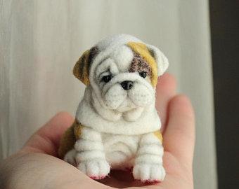 white//pink Handmade felt Brooch French Bulldog Puppy