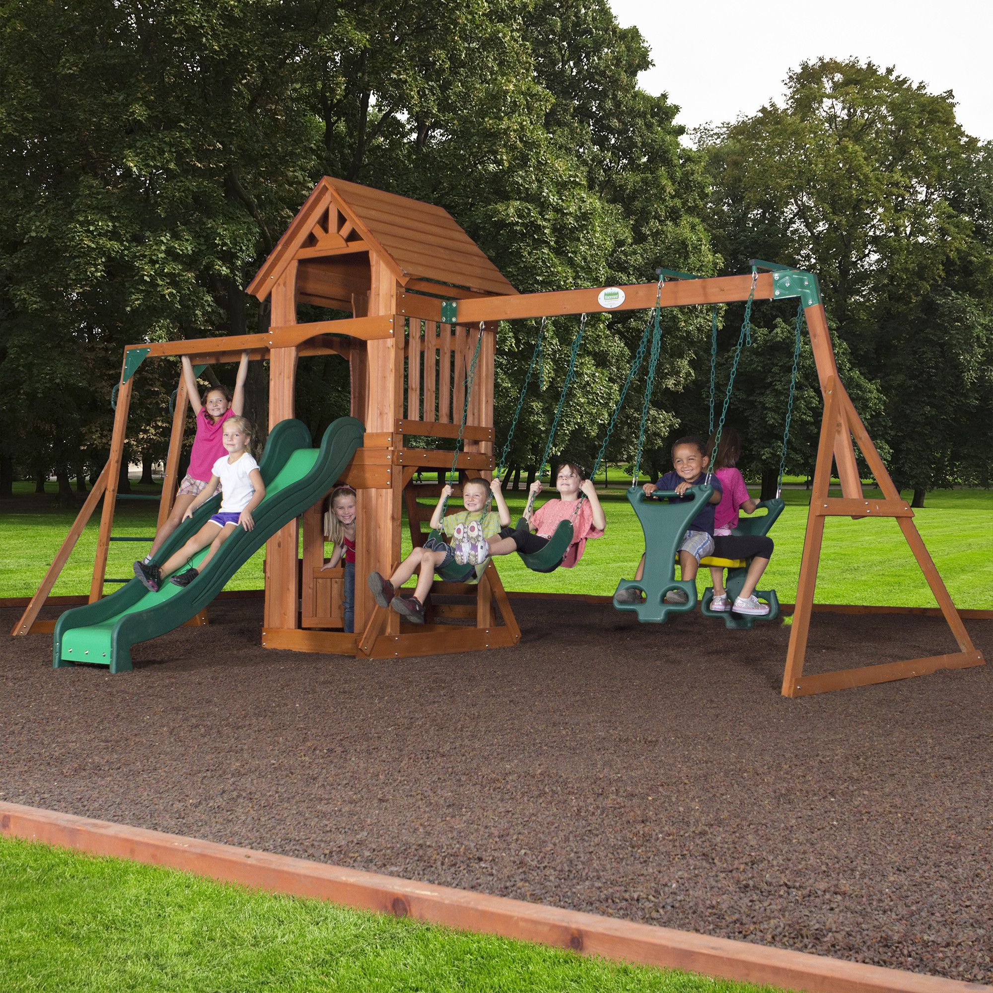 Backyard Discovery Sonora Cedar Wood Swing Set Homideal