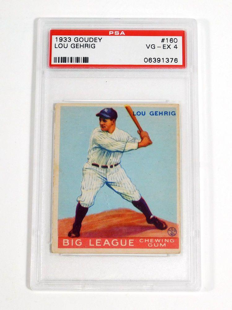 1933 Goudey Lou Gehrig 160 Rookie Yankees Set Break PSA 4