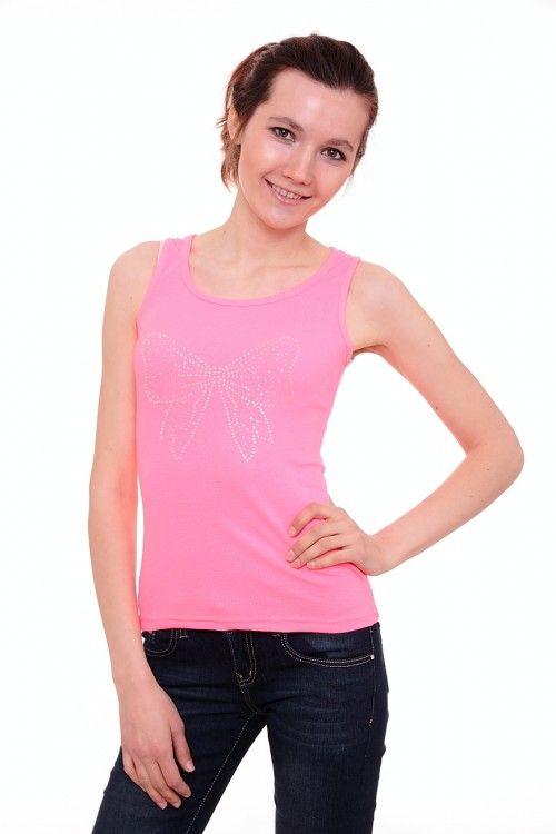 Майка А6943 Размеры: 42-44 Цвет: розовый Цена: 225 руб.  http://optom24.ru/mayka-a6943/  #одежда #женщинам #майки #оптом24