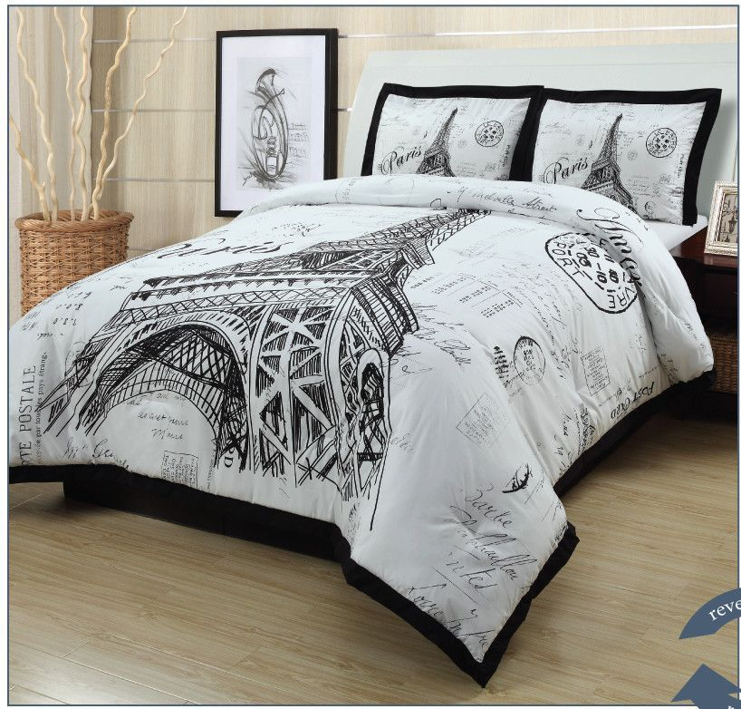 Paris Bedroom Black And White Bedroom Paint Colors And Moods Bedroom Colours 2017 Bedroom Texture Paint Ideas: Meet Me In Paris Comforter Set