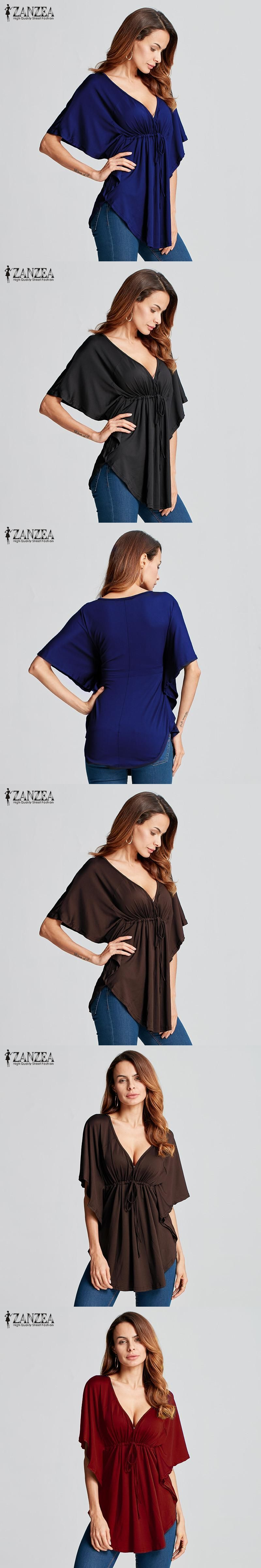 46c92145d7b Zanzea Summer Women Trend 2017 Sexy Casual Loose V-neck Batwing Sleeve Tops  Tee Solid