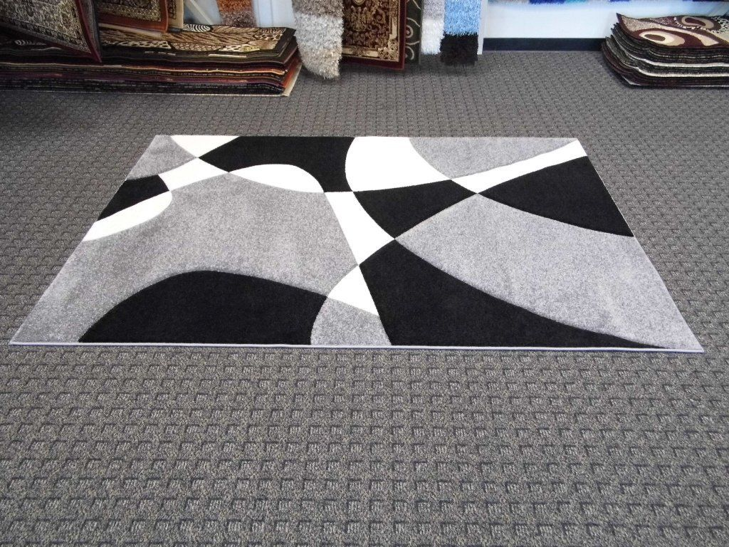Modern Area Rug In Black And White Colors Modern Area Rugs Area