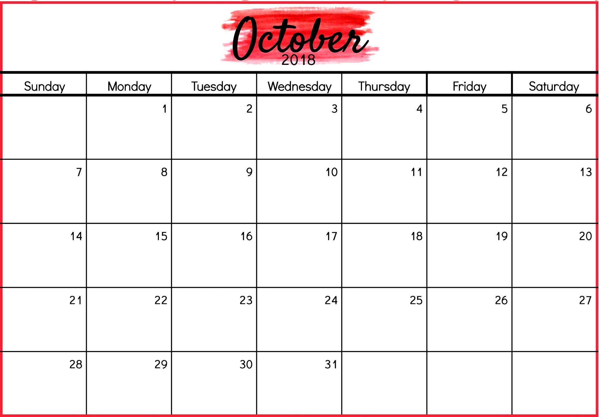 October 2018 Word Calendar Letter Format Templates Calendars