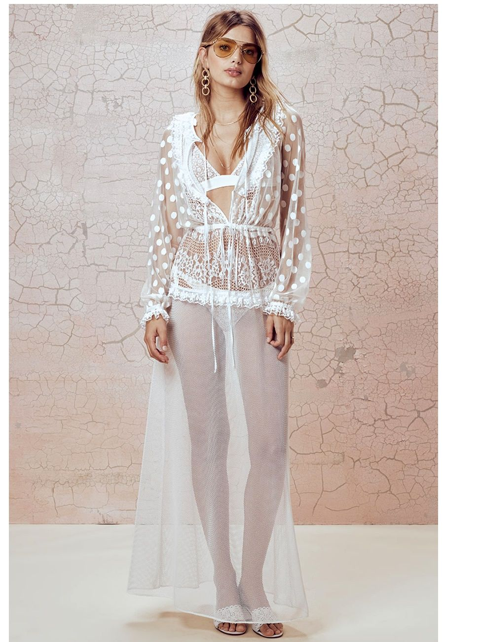 4759cca2c898 Buy For Love and Lemons  Trinidad Maxi cover up (SWMCD1044-SP18-WHT