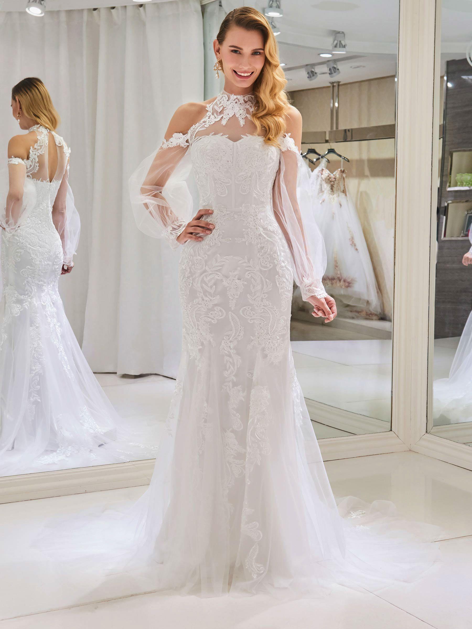 Ericdress Mermaid Long Sleeves Cold Shoulder Wedding Dress Wedding Dress Long Sleeve Cold Shoulder Wedding Dress Long Sleeve Mermaid Wedding Dress [ 2400 x 1800 Pixel ]