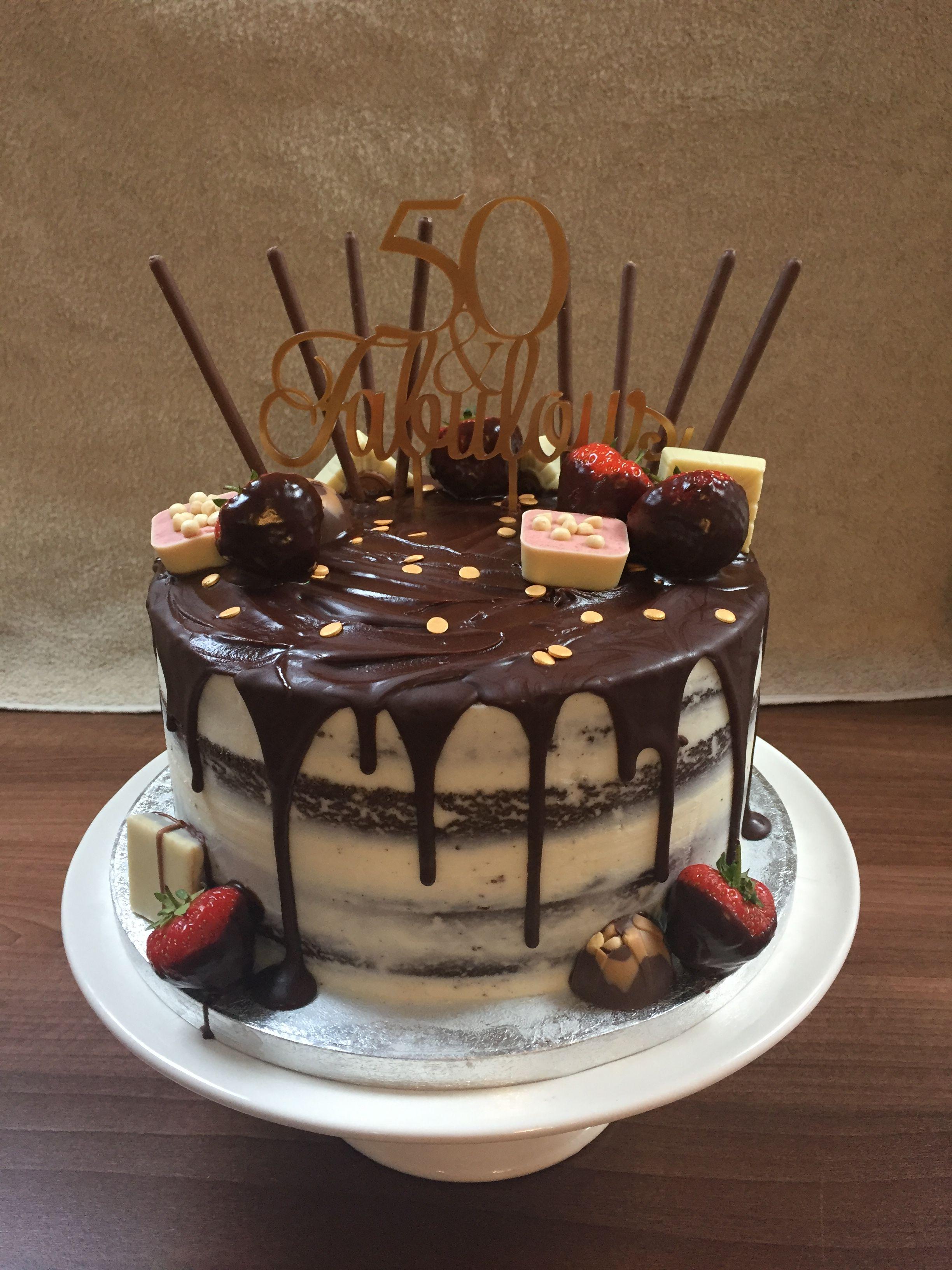 50th Birthday Chocolate Drip Cake