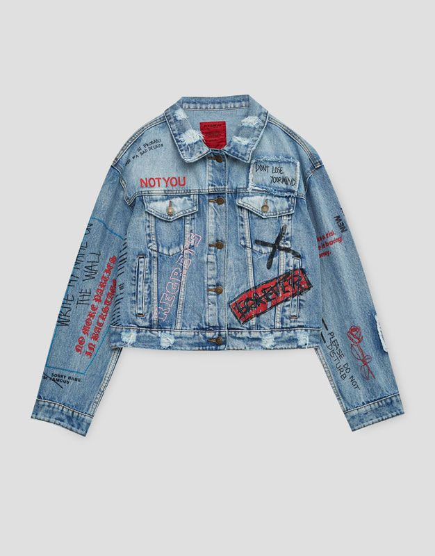 2565c0a193 Denim jacket with scribbles - Denim - Coats and jackets - Clothing - Woman  - PULL BEAR United Kingdom
