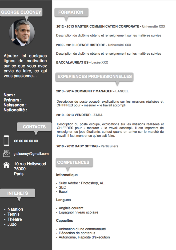 modern cv template in french