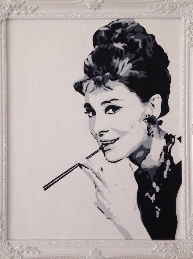 Acrylic Painting Audrey Hepburn Framed Black and White Acrylic on ...