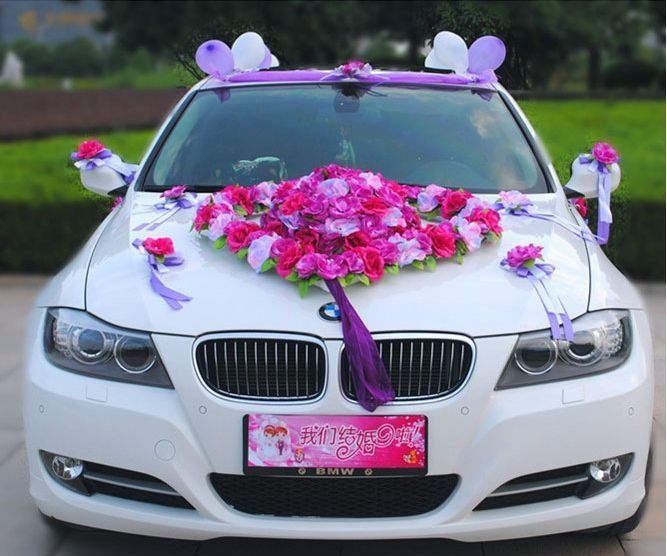Flower Festooned Vehicle Wedding Car Decoration Kit Korean Suits