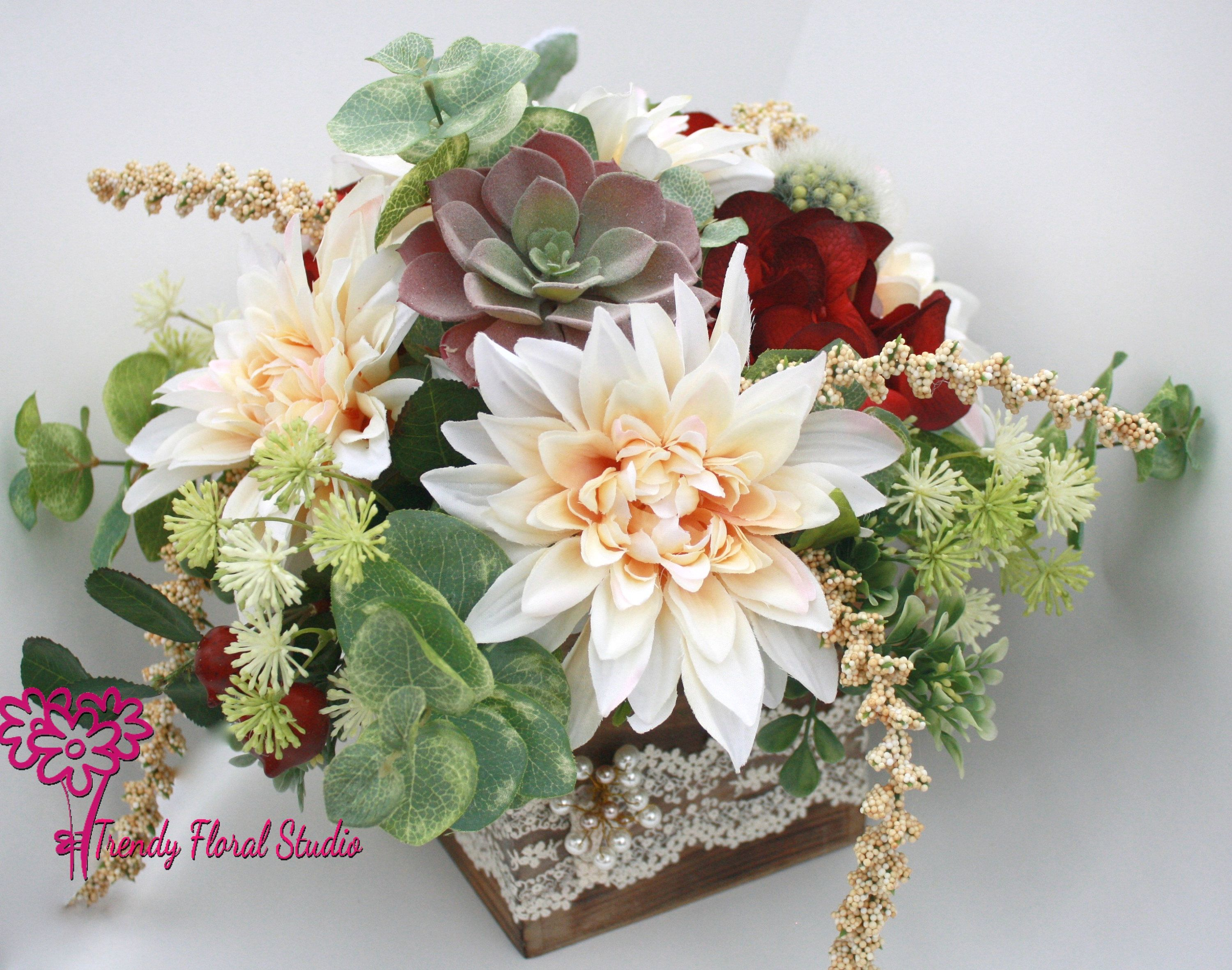 Rustic chic wooden box with lace wedding centerpiece blush burgundy rustic chic wooden box with lace wedding centerpiece blush burgundy silk flowers dahlia rose succulent table junglespirit Image collections