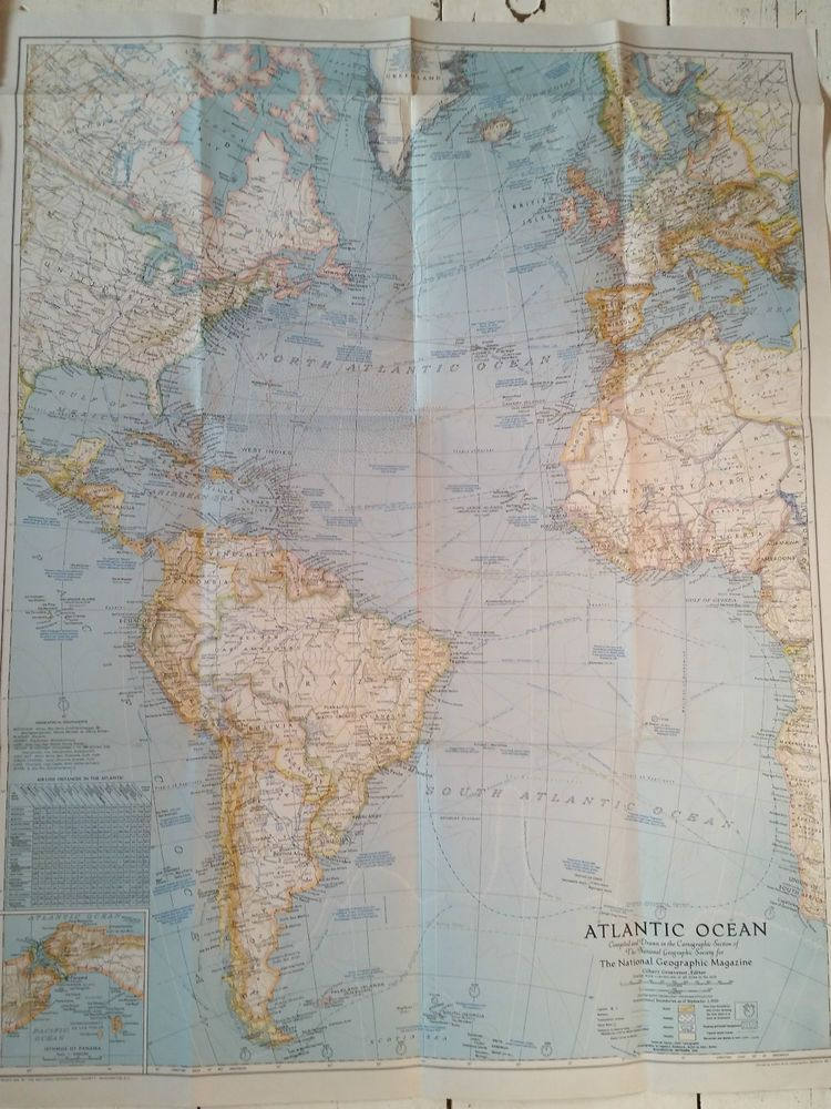 Vintage 1941 map atlantic ocean national geographic society europe