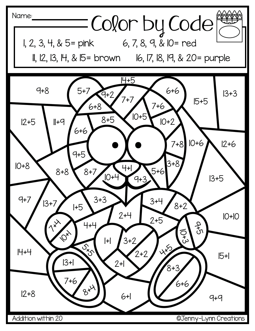 Valentine Addition And Subtraction Basic Math Skills 2nd Grade Math Worksheets Math Coloring Worksheets [ 1056 x 816 Pixel ]