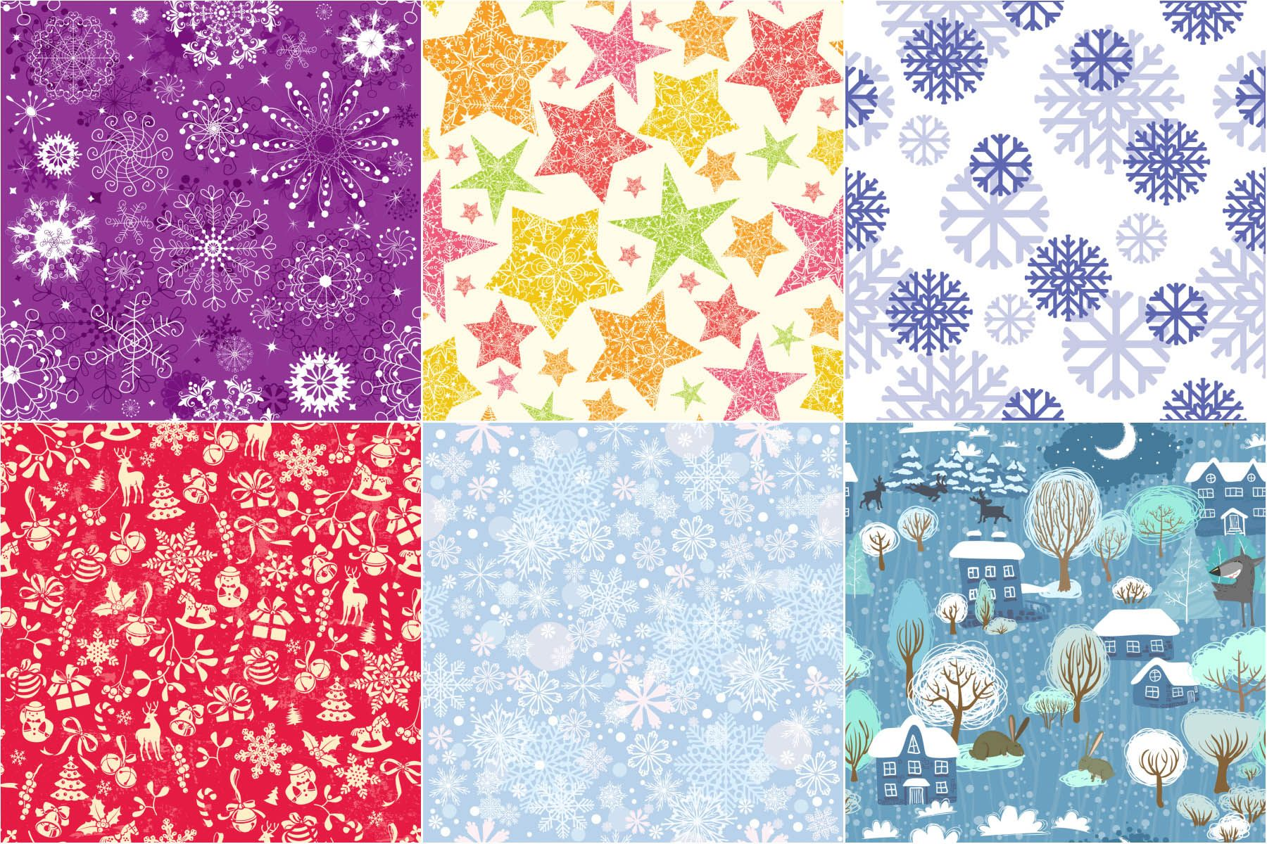 Christmas pattern with stars and snowflakes vectors