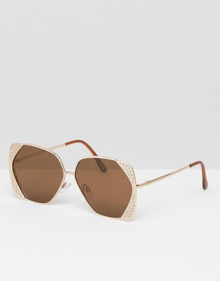 ASOS Oversized 70s Sunglasses In Square Corner Detail Glitter Frame