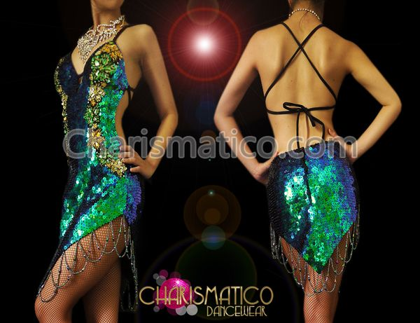 Charismatico Dancewear Store - CHARISMATICO Peacock iridescent green to royal blue sequin Latin dance dress , $169.00 (http://www.charismatico-dancewear.com/charismatico-peacock-iridescent-green-to-royal-blue-sequin-latin-dance-dress/)