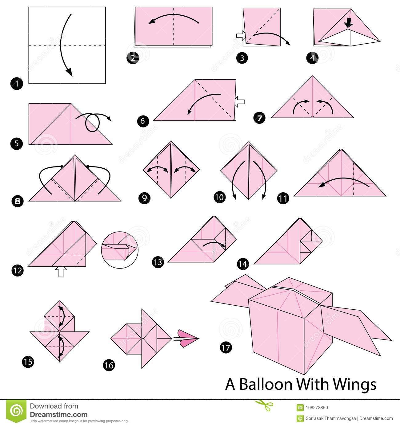 How To Make a Paper Balloon (Water Bomb) - EASY Origami - YouTube | 1390x1300