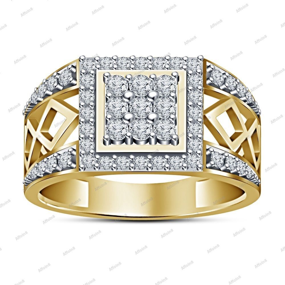TVS-JEWELS Mens Band Engagement Ring Rose Gold Plated 925 Sterling Silver White Cubic Zirconia