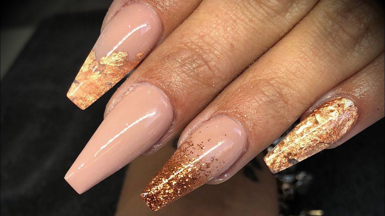 Acrylic Nails Copper Design Set Copper Nails Designs Cute Acrylic Nail Designs Cute Acrylic Nails