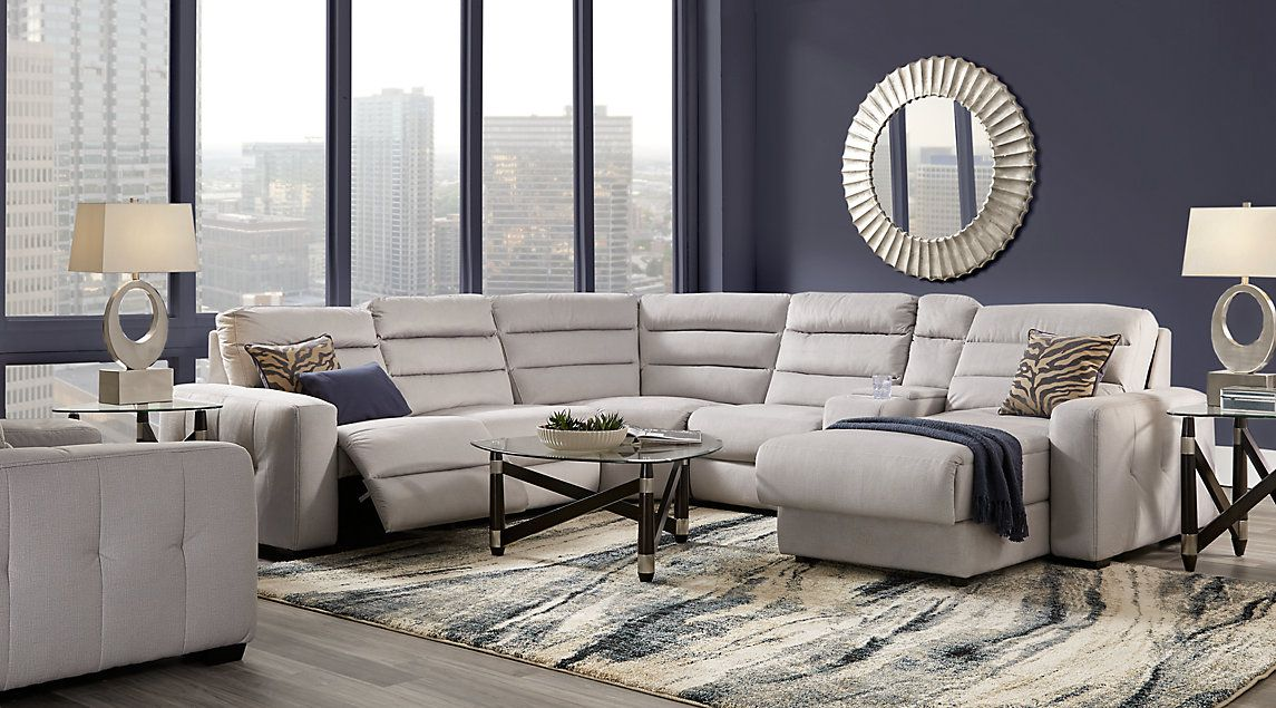 Cindy Crawford Home Palm Springs Gray 3 Pc Sectional Reclining Sectional Living Room Sets Furniture Living Room Sets #rooms #to #go #living #room #tables