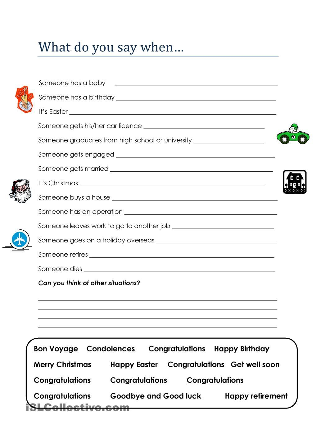 Real english what do you say when worksheets pinterest this worksheet is part of a real english unit and is designed to teach students what to say in particular social situations eg congratulations robcynllc Gallery