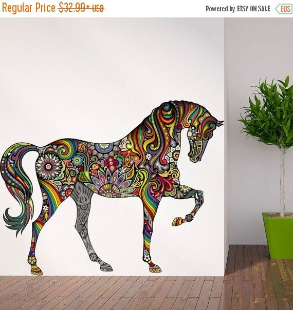 25% OFF SALE Horse Wall Decal In Flower Rainbow By MyWallStickers