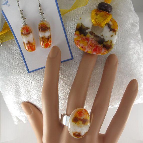 Orange Pendant Fused Glass Jewelry Donut Pendant by IMadeJewelry