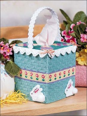 Plastic Canvas - Holiday & Seasonal Patterns - Easter Patterns - Easter Basket Tissue Topper