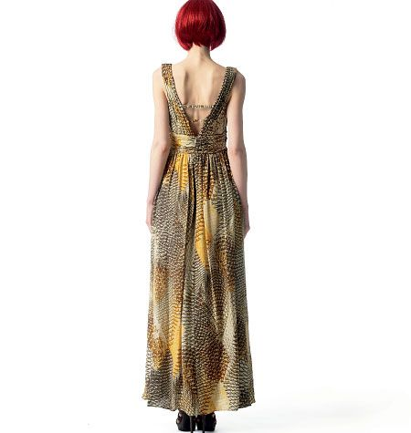 Vogue designer anne klein v1354 miss maxi boho dress sewing pattern ...