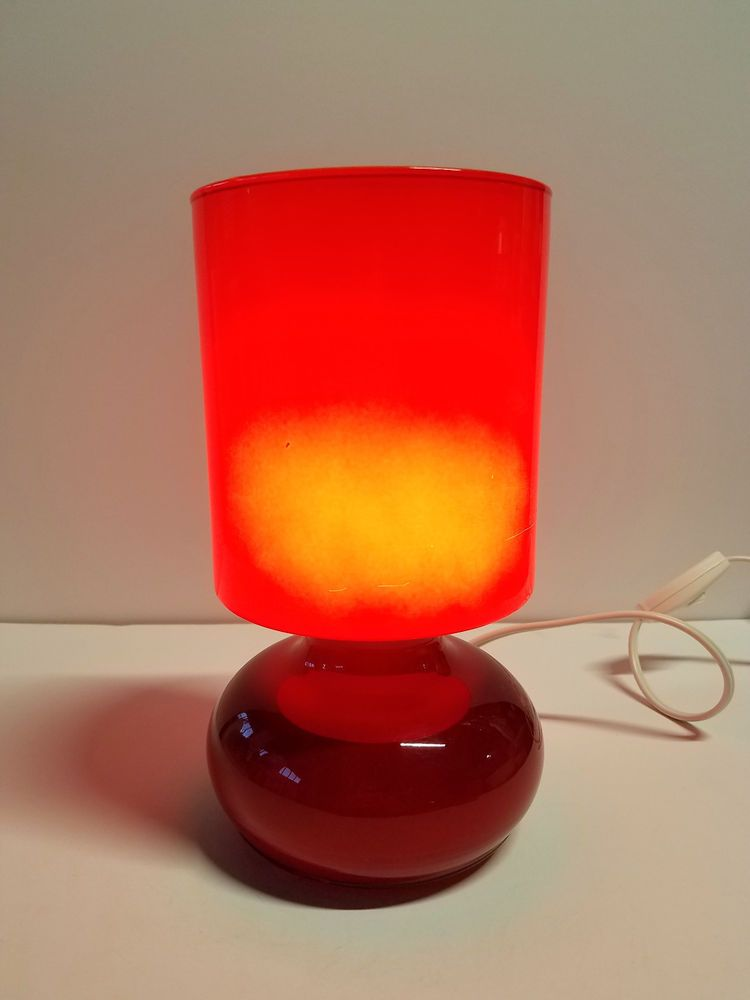 Ikea Lykta Glass Table Lamp Red B0401 Modern For Sale Misc Items