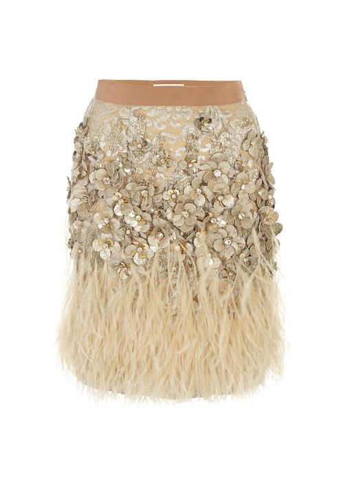 7f65b1d5ce Sequin and Feather Skirt - Ostrich Feather Embellished Lace Skirt ...