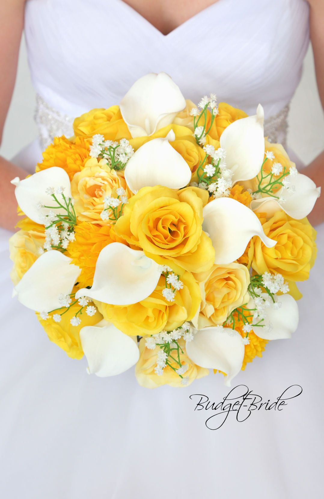 Buttercup Davids Bridal Wedding Bouquet In Yellow And White With