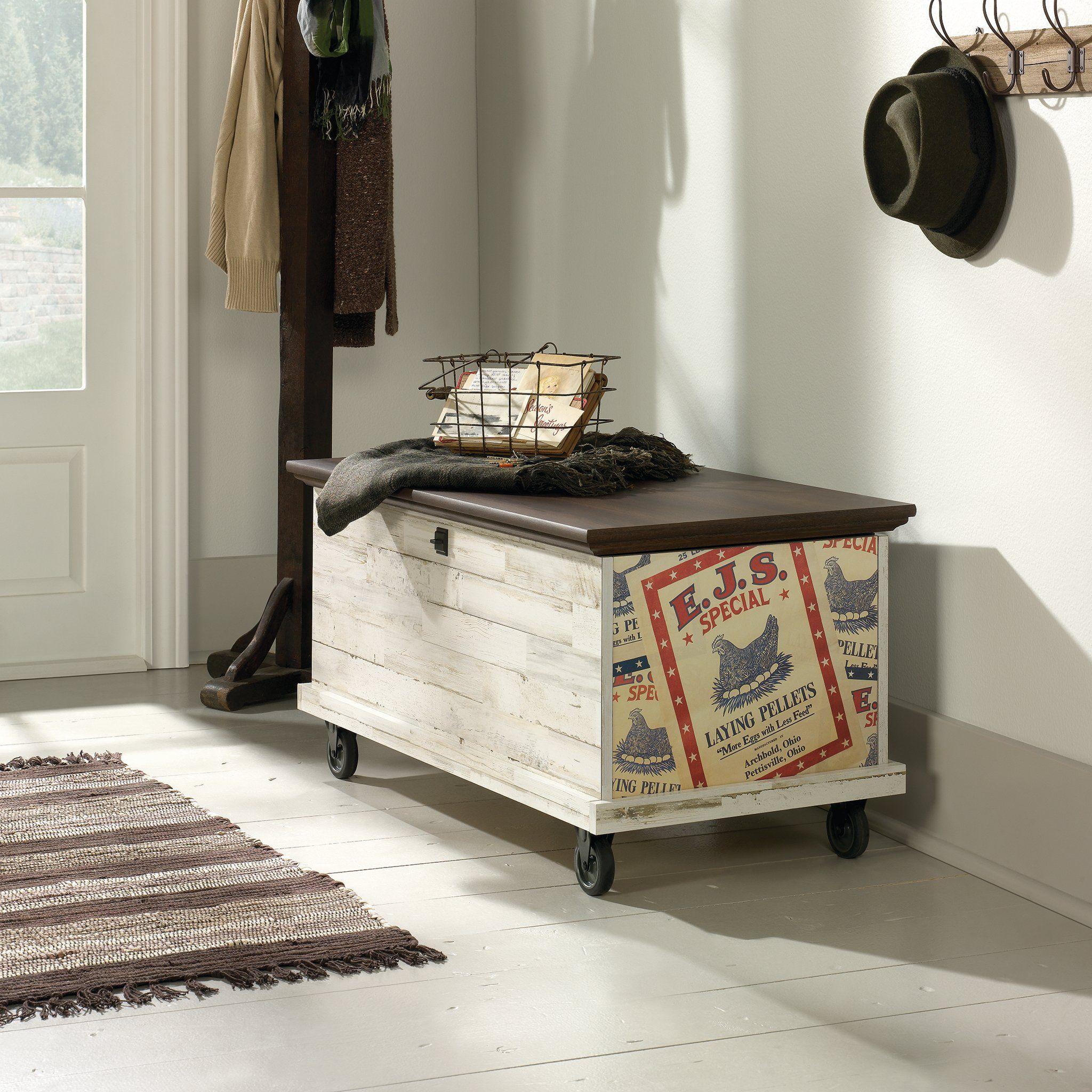 Sauder 419590 Eden Rue Rolling Chest White Plank * Find