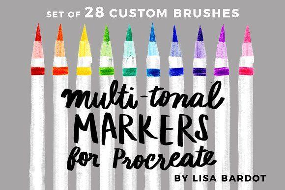Multi-tonal Markers for Procreate by LisaBardot on @creativemarket