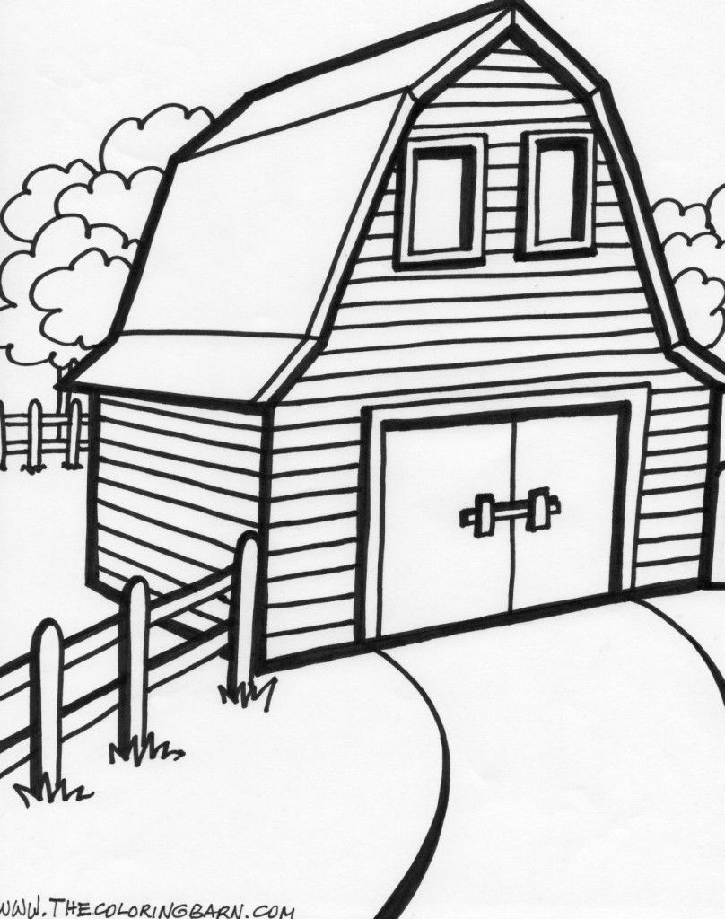 Square Barn Coloring Page