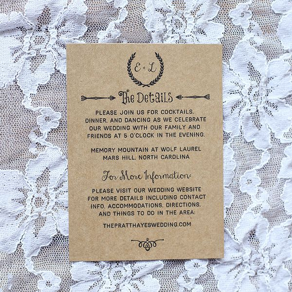 Chalkboard Printable Rustic DIY Details Card Templates Kraft Paper - Diy save the dates templates
